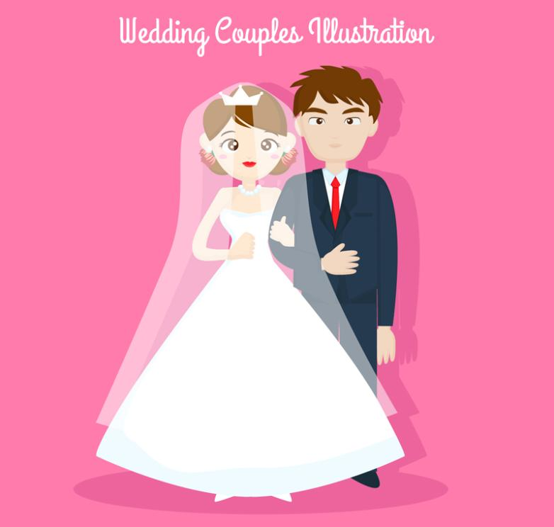 Creative Wedding Couple Design Vector