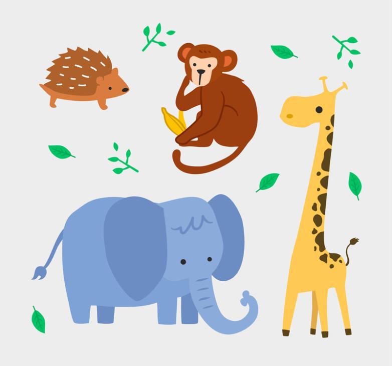4 The Hedgehog Monkey Giraffe Vector Elephant Lovely Wild Animals