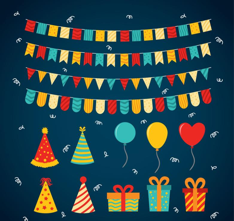 14 Color Vector Diagram Holiday Party Decorations
