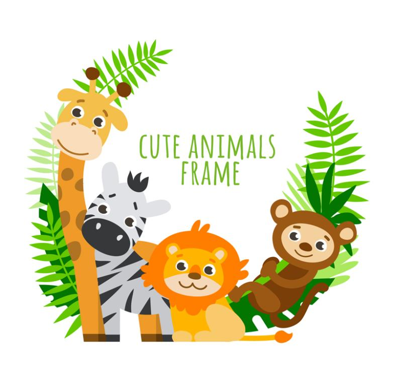 The Four Lovely Wild Animals Framework Vector