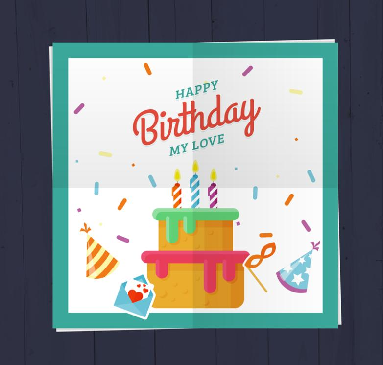 The Colorful Birthday Cake Blessing Cards Vector