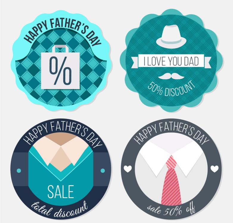 4 Circular Vector Discount Label Father's Day
