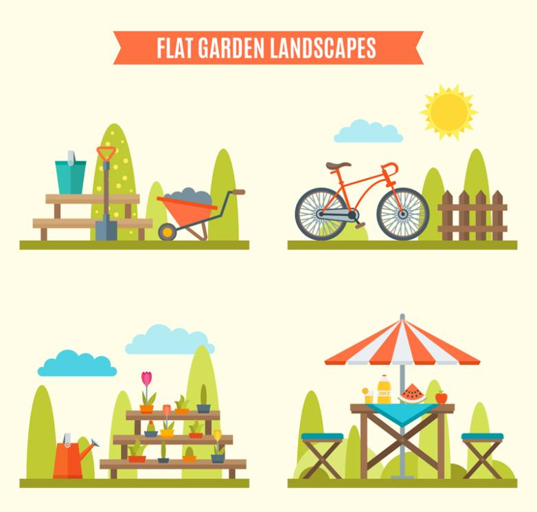 Four Groups Of Creative Garden Landscape Vector