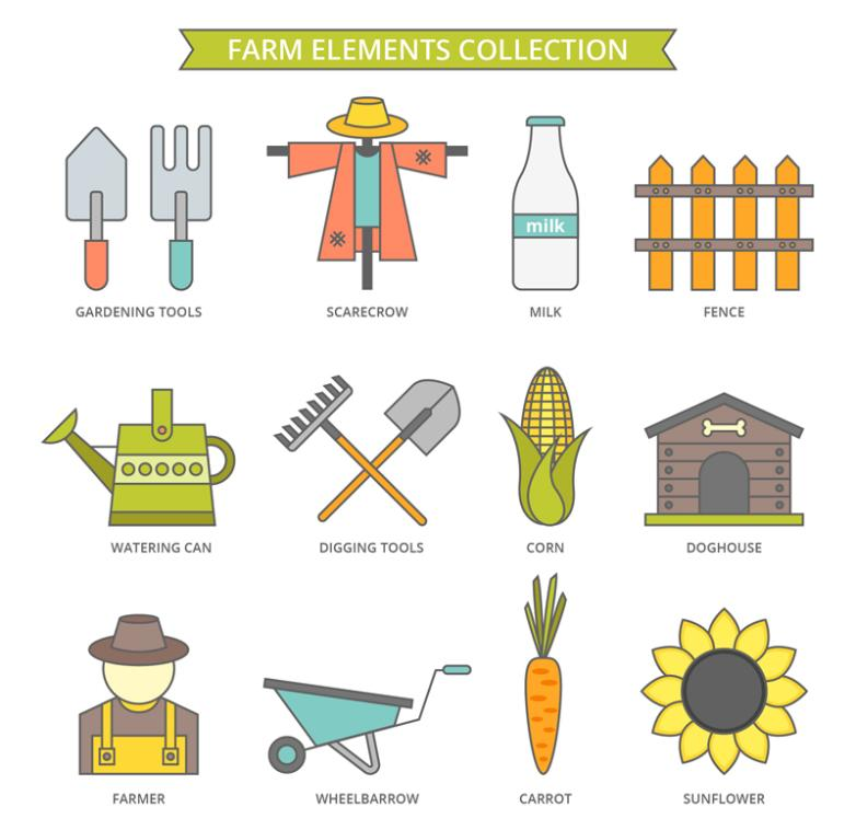 12 Creative Farm Element Vector