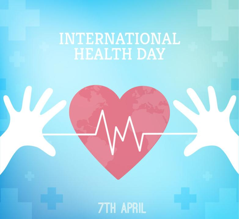 The Love World Health Day Poster Coloured Drawing Or Pattern Vector