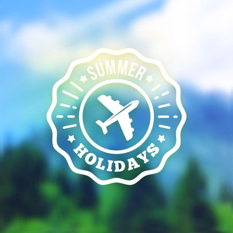 Summer Travel Badge Fuzzy Vector Scenery