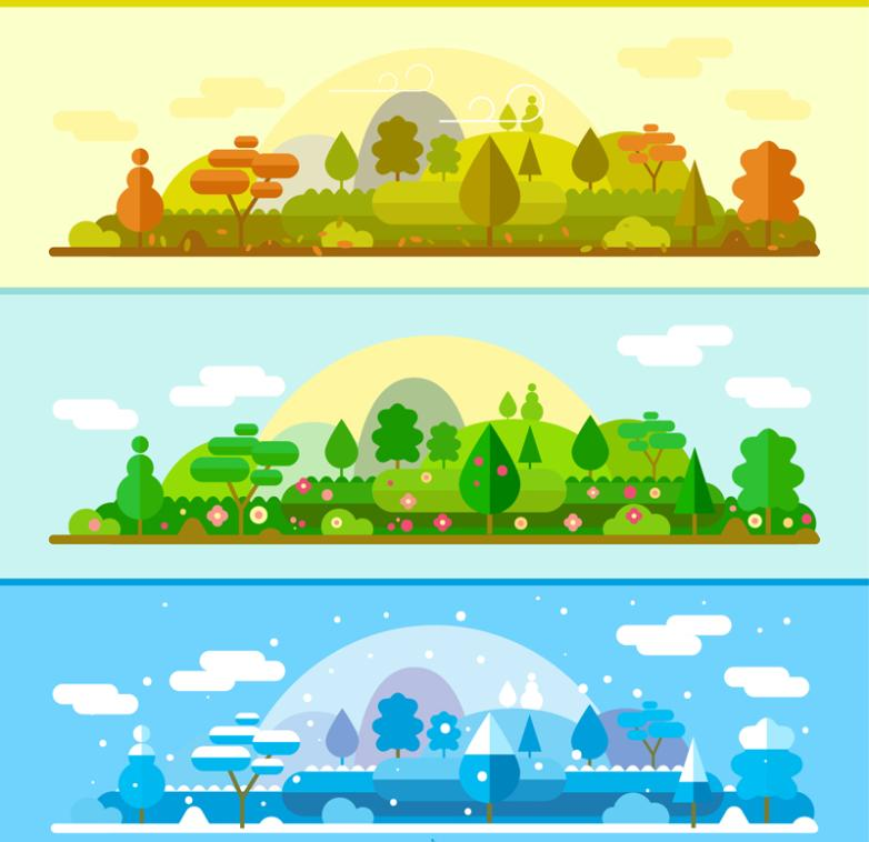 Three Seasons Of Forest Landscape Banner Vector Diagram