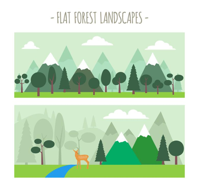 The Two Green Forest Landscape Banner Vector