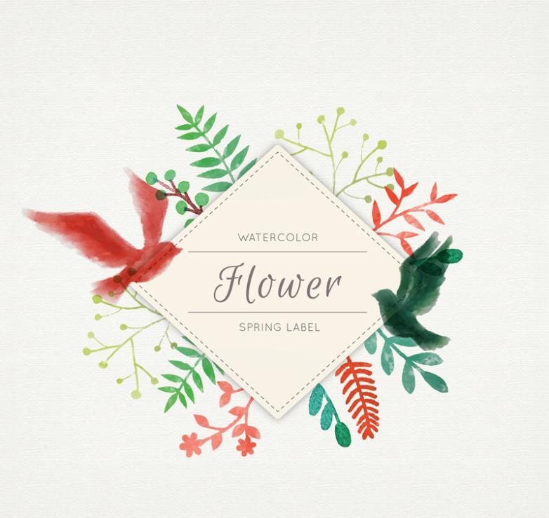 Watercolor Spring Flowers Dove Label Vector