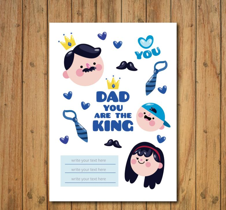 Cartoon Characters Vector Figure Head For Father's Day Cards