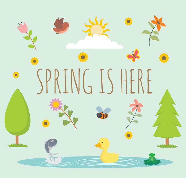 Many Lovely Spring Element Illustrator Vector