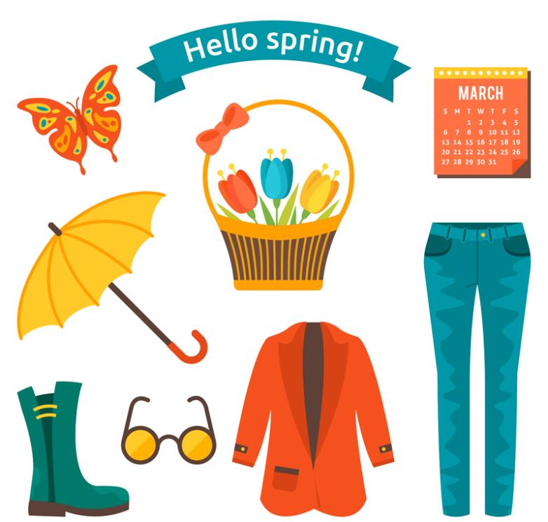 Eight Elements Vector Such As Cartoon Spring Clothing
