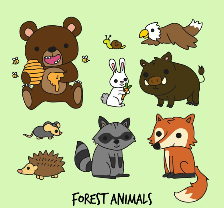 Nine New Vector Drawing Cartoon The Animals Of The Forest