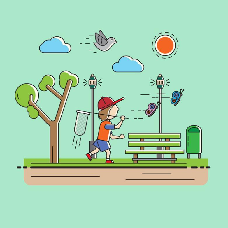 Go For An Outing In The Children's Illustrator Vector