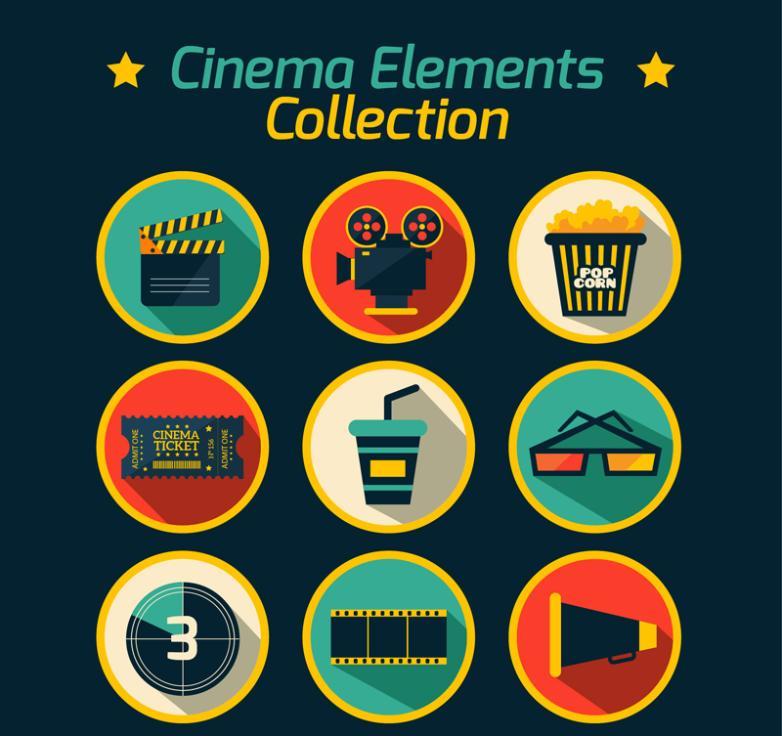 Nine New Round Icon Vector Film Elements