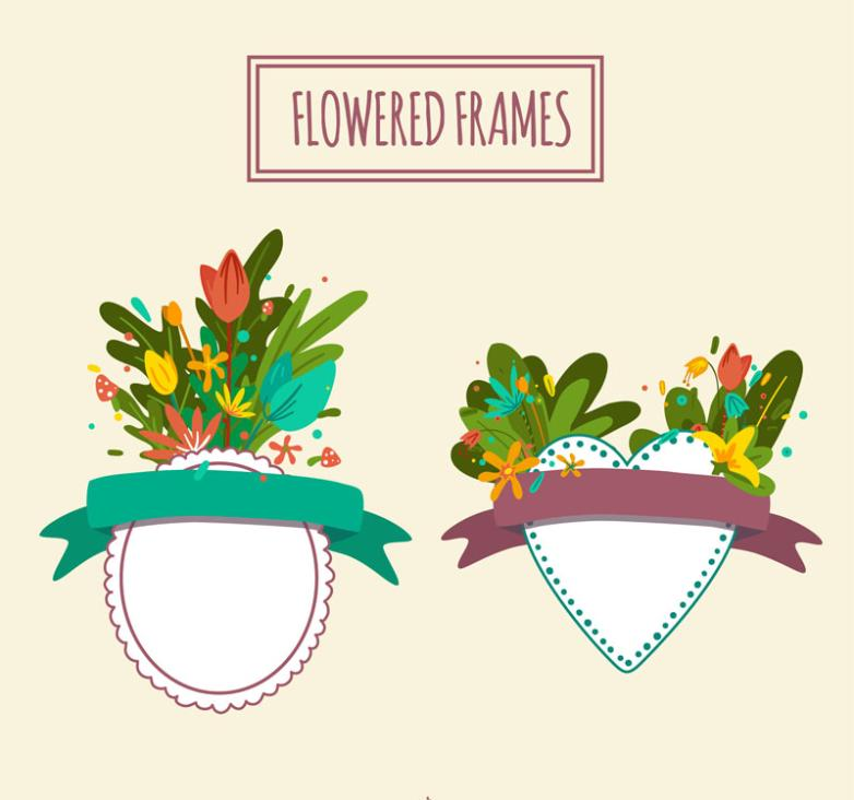 Two Flowers Adornment Blank Label Vector