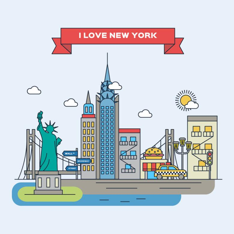 Creative Architectural Illustrations Vector In New York
