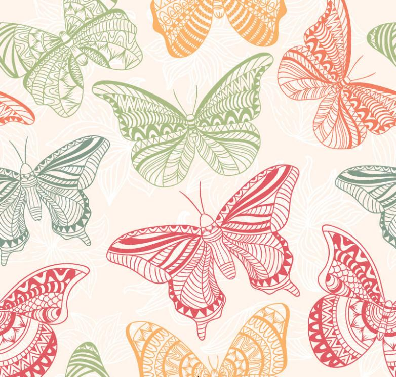 Butterfly Seamless Background Vector Color Decorative Pattern
