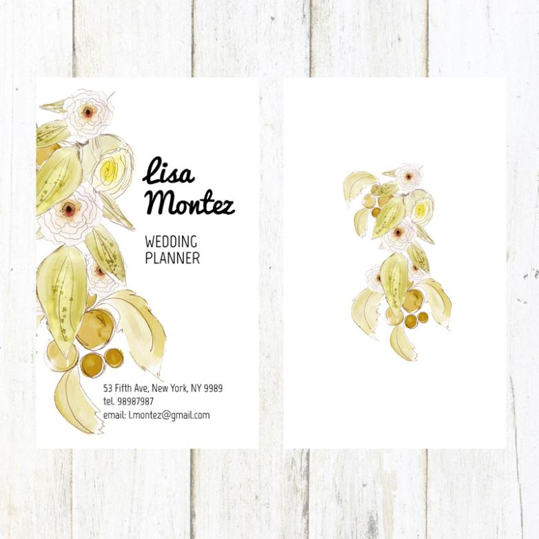 Watercolor Flowers Wedding Planner Card Vector