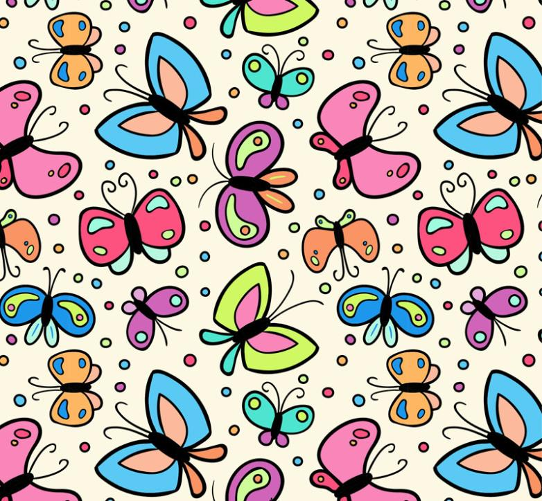 The Cartoon Color Butterfly Seamless Background Vector