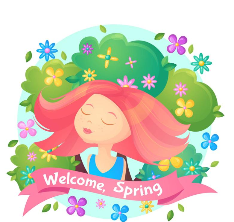 Spring Flowers And Red Hair Girl Vector