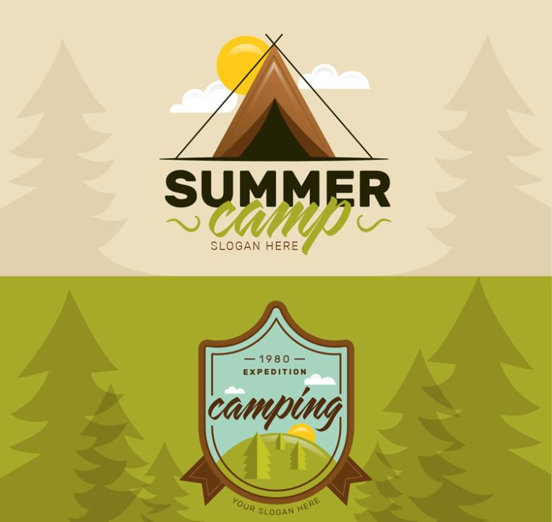 The Two Summer Camping Banner Vector