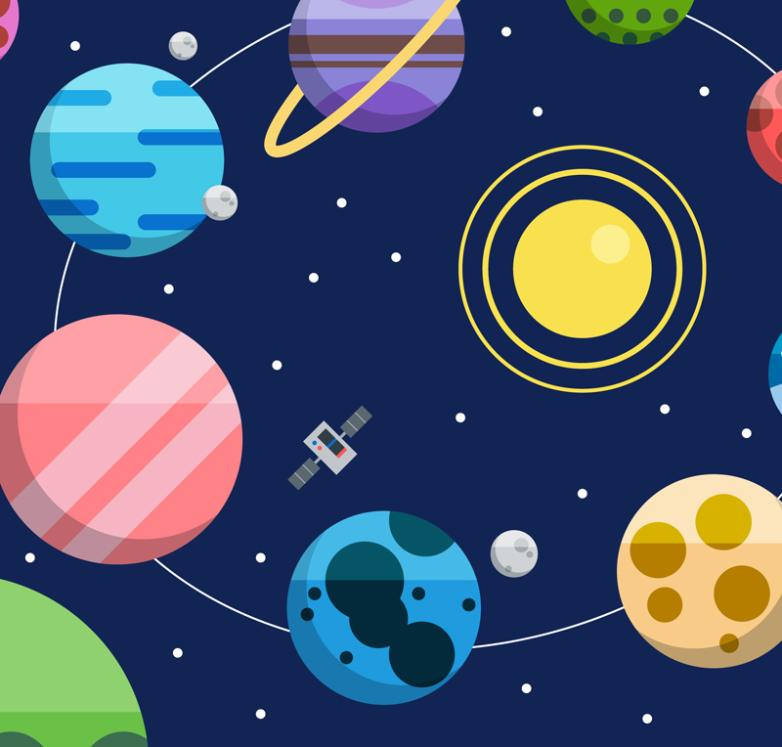 The Flat Space Planet Illustrator Vector