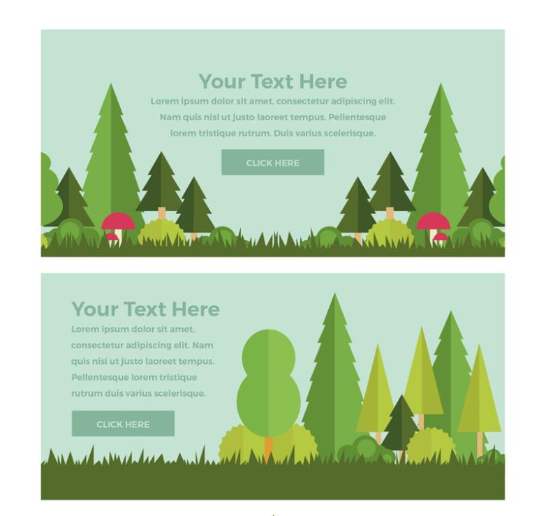 Two Flat Forest Plants And Mushrooms Banner Vector