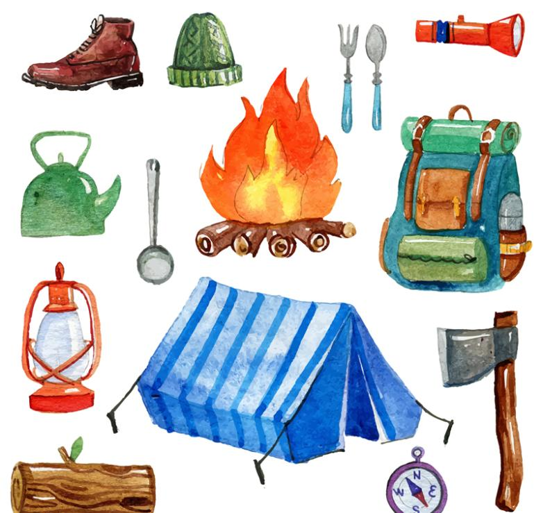 14 Water Coloured Drawing Or Pattern Vector Camping Gear