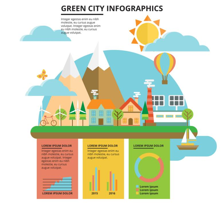 Flattened Green City Figure Vector Information