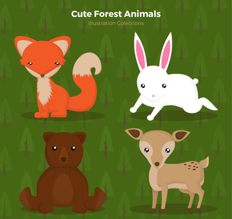 Fox Rabbits And Deer Four Lovely Bear Forest Animal Vector