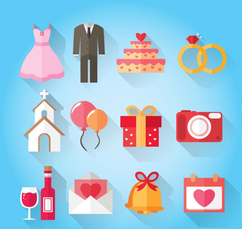 12 Color Wedding Elements Icon Vector