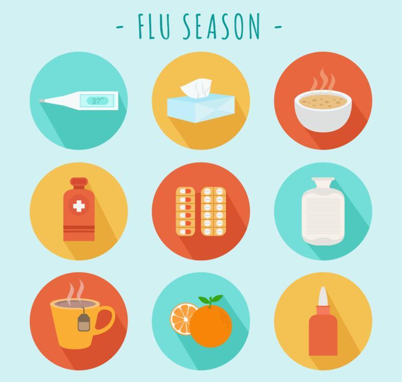 Nine New Round Icon Vector Flu Season