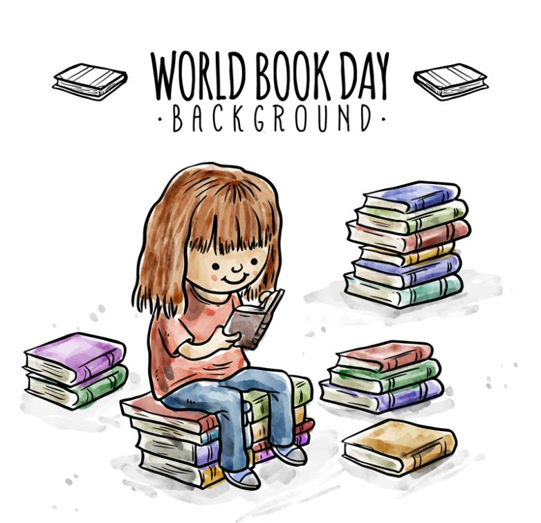 The World Book And Copyright Day Girl Vector To Study