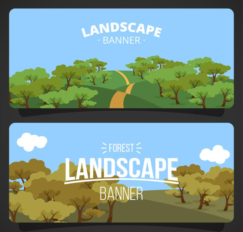 The Two Cartoon Forest Landscape Banner Vector