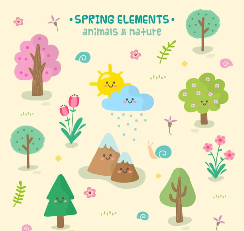 Lovely Spring Trees And Snails Natural Elements Vector
