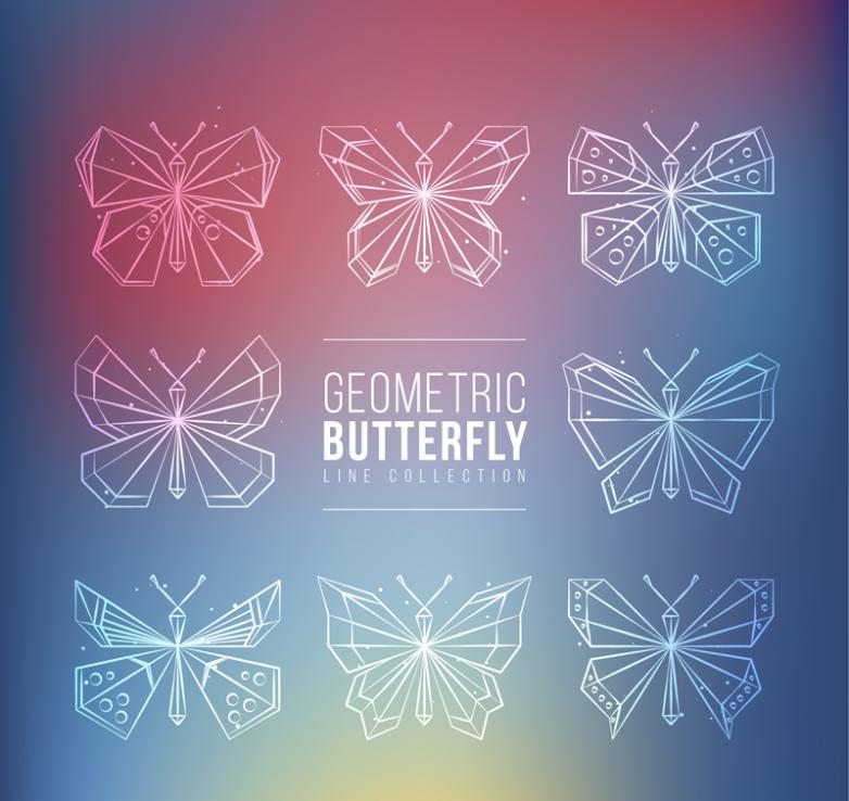 Eight White Geometric Butterfly Vector