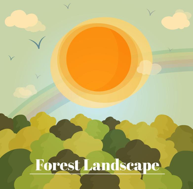 Cartoon The Forest Landscape In The Sunlight Vector