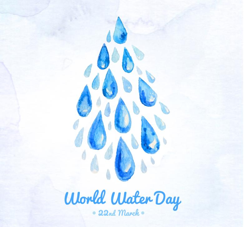Water Droplets World Water Day Poster Vector