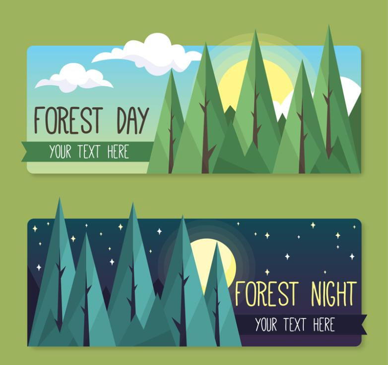 Two Forest Banner Day And Night Vector