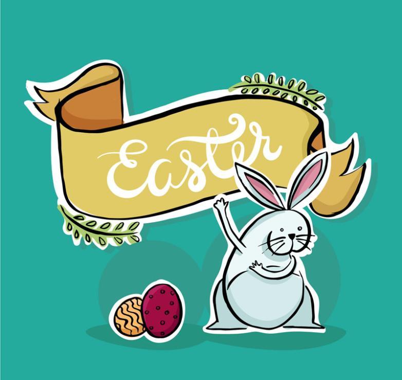 Cartoon Gray Rabbit Easter Cards Vector