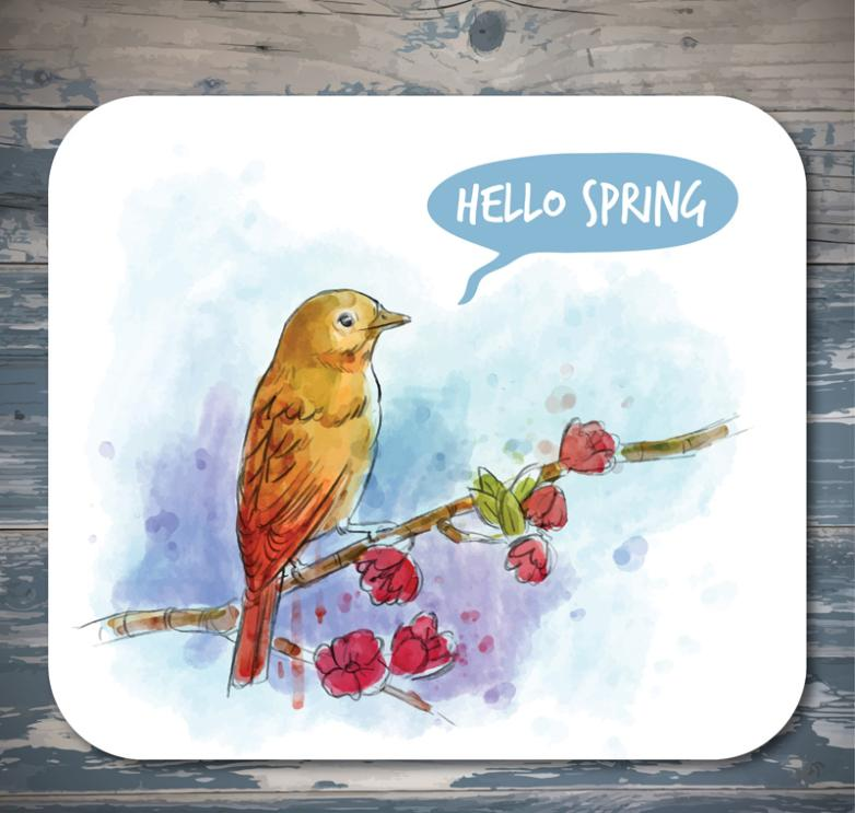 Water Coloured Drawing Or Pattern Of Spring Flowers On A Bird Vector