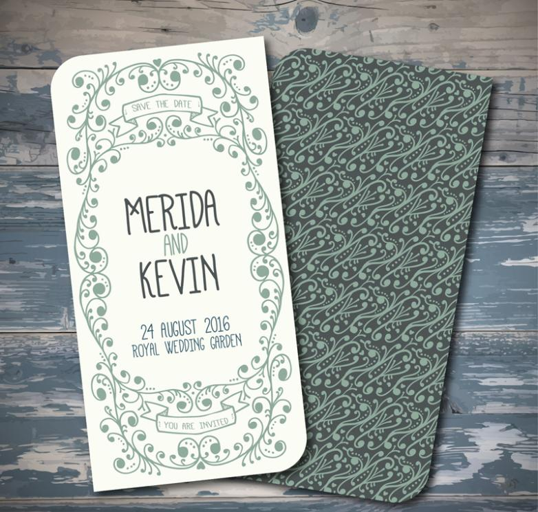 Green Decorative Pattern Wedding Invitation Card Vector