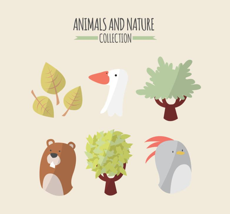 Element Six Natural Animals And Plants Vector