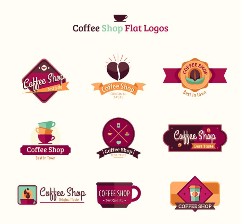 Nine New Flat Coffee Shop Sign Vector