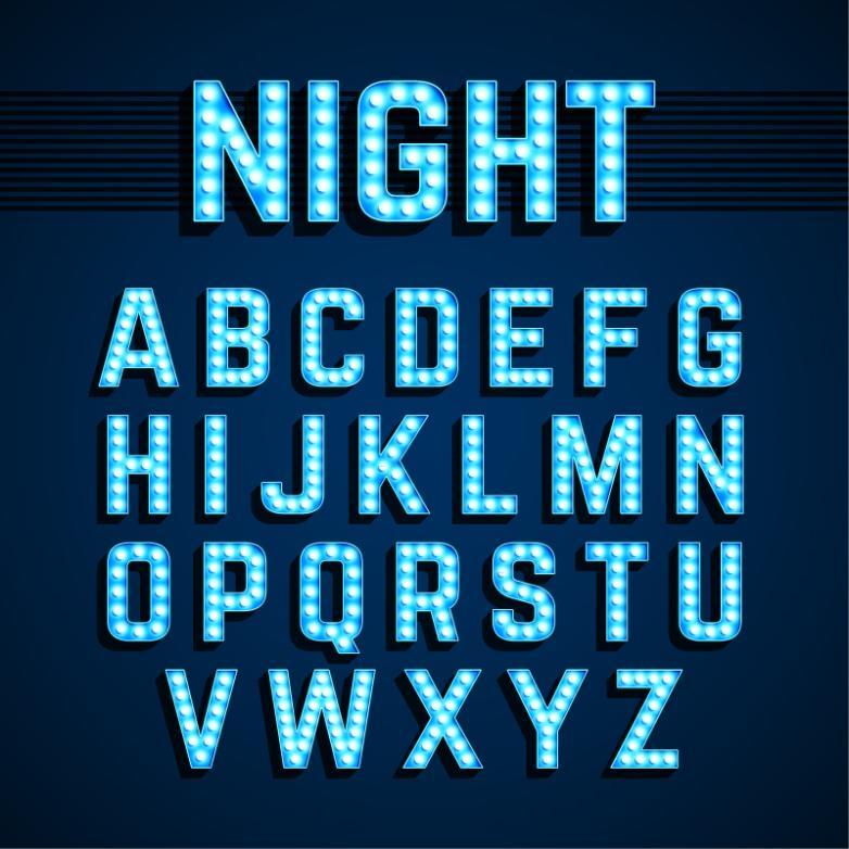 26 Neon Blue Letters Vector