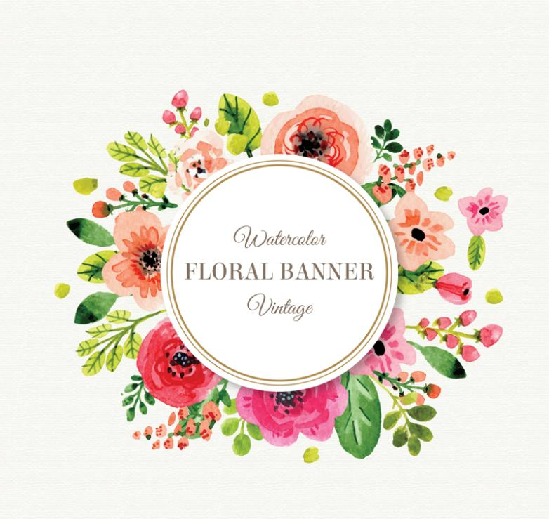 Watercolor Flower Decoration Label Vector