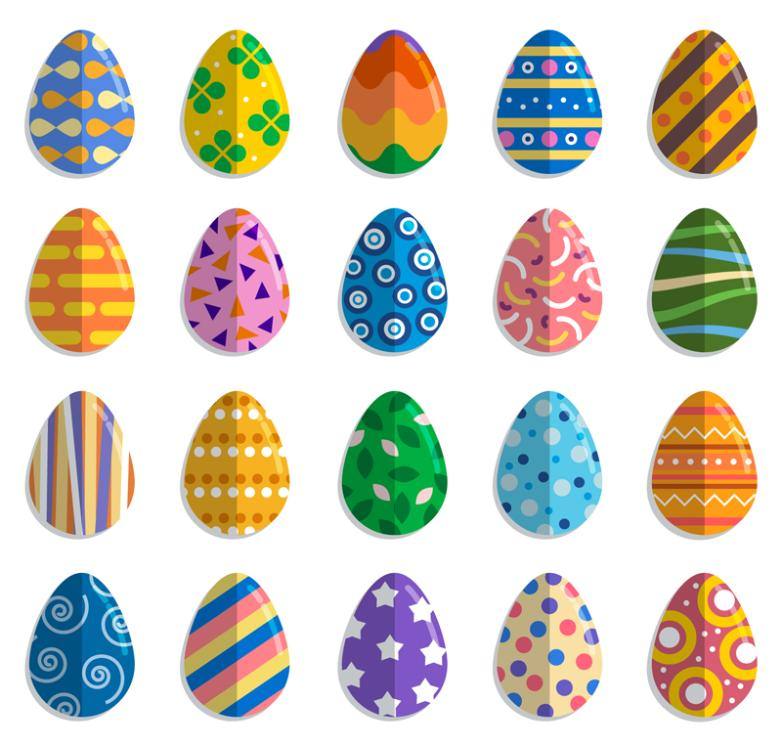 20 Flat Pattern Eggs Vector