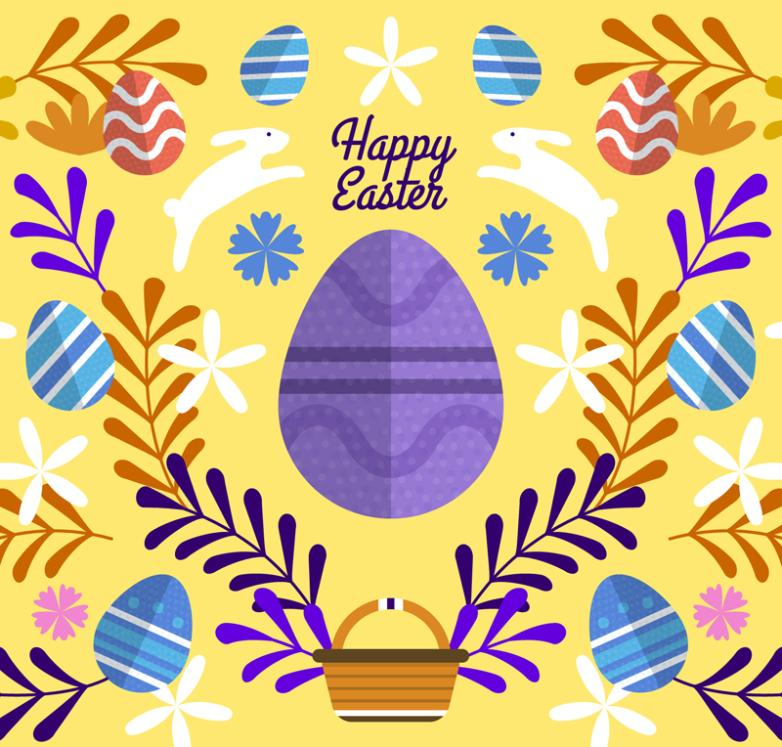 Flattening Easter Eggs Greeting Card Vector
