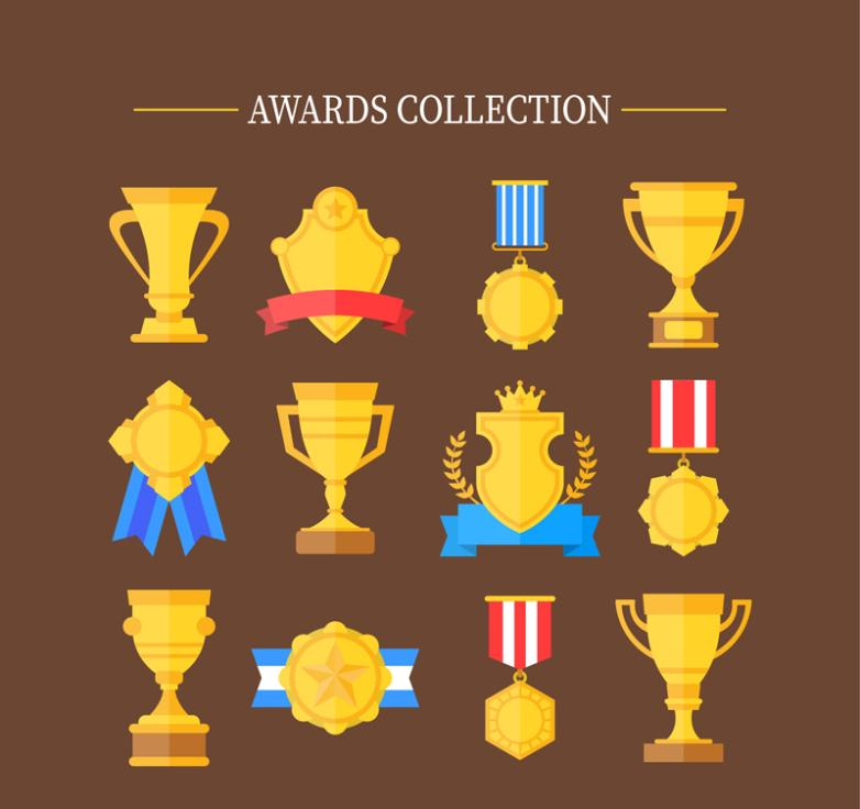 12 Golden Cup Medals And Medals Vector